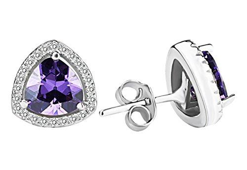 Sterling Silver New Fashion Sexy Lady lusso Cubic Zirconia Triangolo ametista orecchini