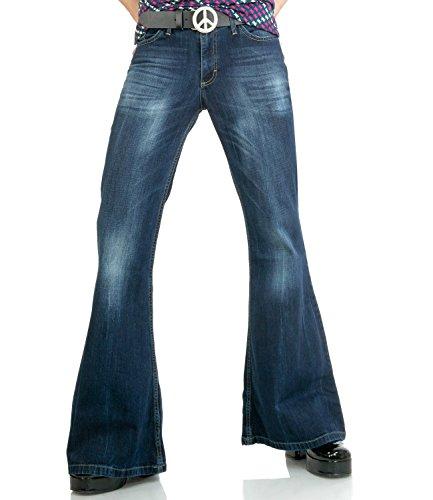 Comycom Dunkelblaue Herren Jeans Schlaghose Star Burn 34/32