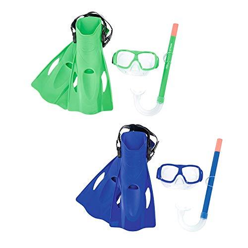 Set de Snorkel Gafas de Buceo con tubo de aire de silicona y aletas de natación para Snorkel Mar abierto, piscina o playa. Talla 37-41. Gafas de buceo y tubo con aletas para buceo natacion Color Azul.
