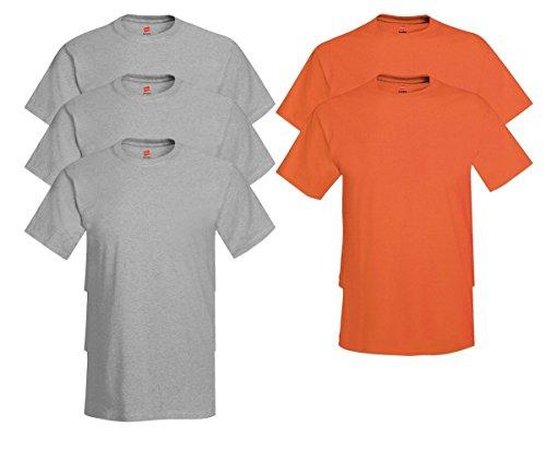 Hanes Men's Tagless Comfortsoft Crewneck T-shirt (Pack of 5) 3 Light Steel / 2 Orange