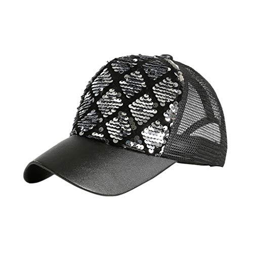 Syeytx Unisex Outdoor Pailletten Zwei-Farben Zebra Meerjungfrau Farbe Baseball Caps Verstellbarer Hut