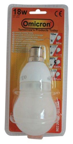 Omicron Klassische GLS Energiesparlampe, Golfballform, Bayonettsockel, 18 W, kompakt, fluoreszierendes Licht -