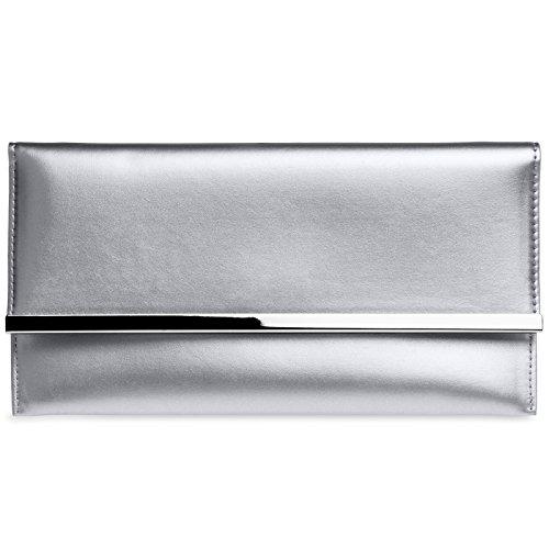 CASPAR TA405 Bolso de Mano Fiesta para Mujer / Clutch Elegante con Decoración Metálica , Color:plata;Tamaño:Talla Única