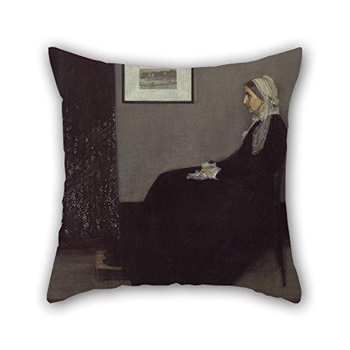loveloveu Kissen von Ölgemälde James Abbott McNeill Whistler–Porträt der Mutter des Künstlers für Zeichnen Raum Teens Mädchen Study Room Sohn Teens 40,6x 40,6cm/40von 40cm (doppelte Seiten) (Abbott Uhr)