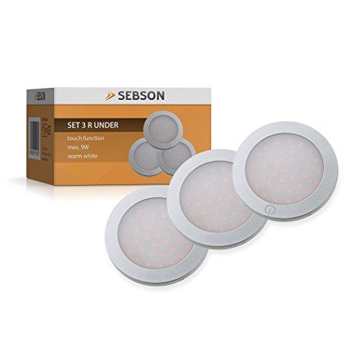 SEBSON LED Unterbauleuchte, Touchfunktion, warmweiß, max. 9W, LED Leuchten, 3er Pack