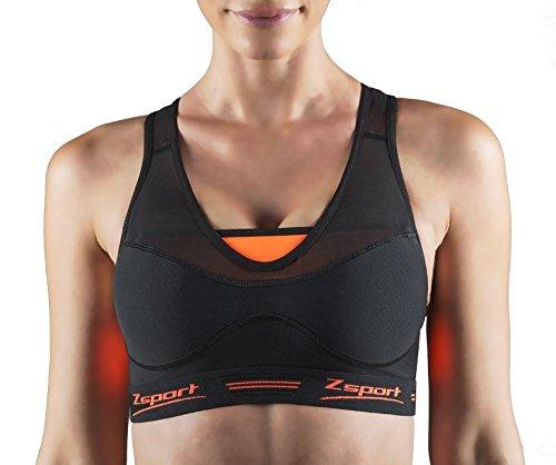 Zsport einlädt Meisterhaftes Virtuosity schwarze und orange Damen Sport-BH Schwarz/Orange