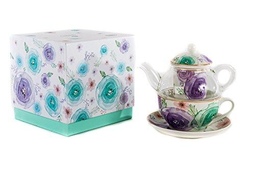 Teiera/tisaniera tea for one fiori moderni - tazza da 250ml con scatola regalo inclusa