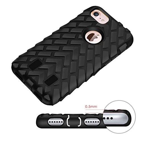 iPhone 7 Coque, Lantier Motif Tire 2 en 1 Combo Heavy Duty antichoc Anti Drop robuste à double couche de couverture de protection hybride pour Apple iPhone 7 (4,7 pouces) Bleu Tire Pattern Black