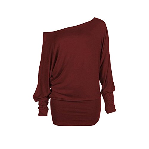 Femmes Batwing Top uni à manches longues Encolure grande taille T-shirt Top 44-54 PLUS TAILLE Du vin