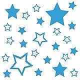 kleb-Drauf® | 25 Sterne | Hellblau - matt | Autoaufkleber Autosticker Decal Aufkleber Sticker | Auto Car Motorrad Fahrrad Roller Bike | Deko Tuning Stickerbomb Styling Wrapping