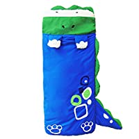 RUISSEN Kids Sleeping Bag - Children Slumber Bags Nap Mat Soft Warm Girls Boys Cute Animals Single 3 Season Outdoor Camping - Lightweight, Compact for a Comfortable Warm Sleep (Blue dinosaur)