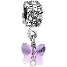 Nenalina Charm con farfalla e cristalli Swarovski in argento 925, anche per braccialetti Pandora, 718054-022