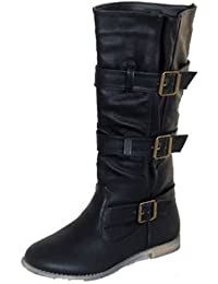 775d6ddf997 Ladies Flat Upper Calf Length Boots with Triple Buckles