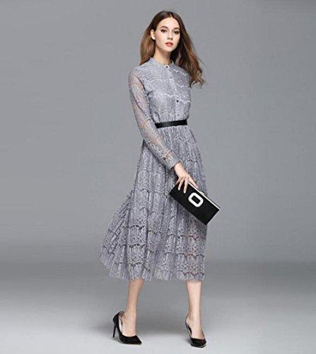 Frauen-lange Hülsen reizvolles Spitzekleid-Herbstkleid , s , silver