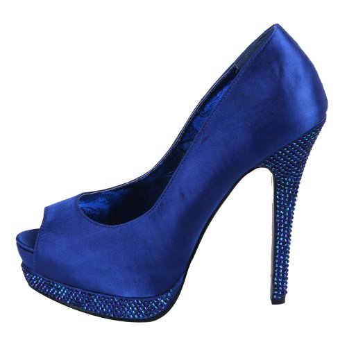 BordelloBELLA-12R - Scarpe peep toe Donna Royal Blue Satin
