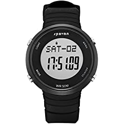 Digital Watch - SPOVAN SPV900 Outdoor Sports Digital Watch with Heart Rate Monitor&Alarm/3D Pedometer/Calories/Mileage Black