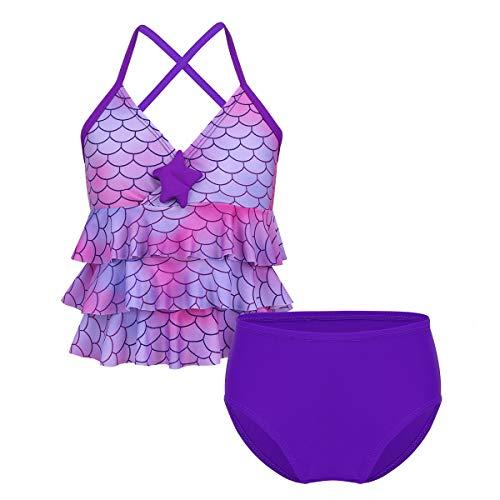 MSemis Kinder Mädchen Meerjungfrau Bademode Badeanzug Tankini Set Bikini Tops + Badeshorets Gr. 98-164 Lila 152