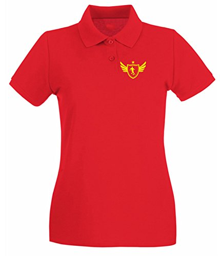 Cotton Island - Polo pour femme WC1240 Soccer Player Star Maglietta Rouge