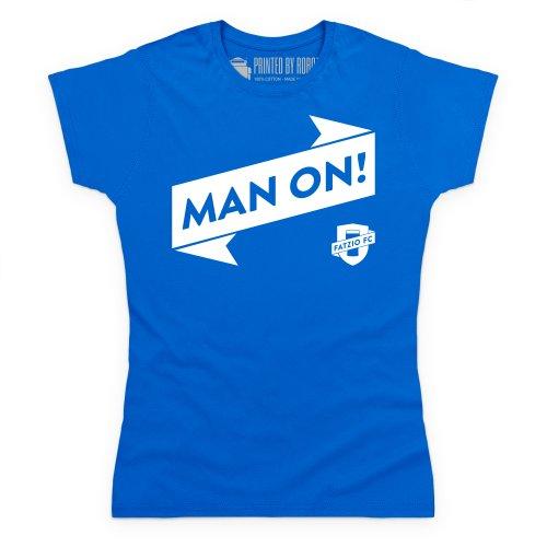 Fatzio FC Man On! T-Shirt, Damen Royalblau