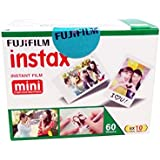 Fujifilm Instax Mini Picture Format Film - Value Pack 60 Shots Films (White)