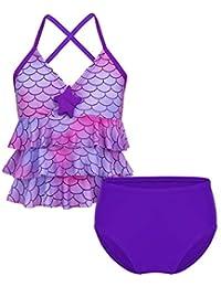 8f3105726a0b8 Freebily Girls  Kids  Two Piece Mermaid Scales Printed Tankini Swimsuit  Summer Beach Swimwear Tank