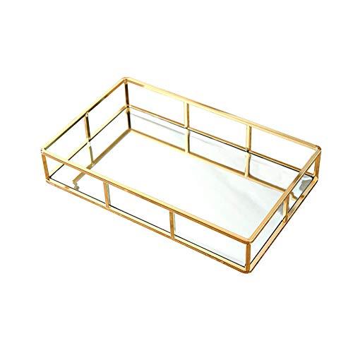 Bandeja de almacenamiento de metal con espejo dorado, bandeja para perfume, bandeja para cosméticos...