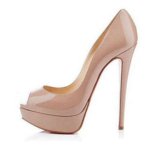 MIUINCY Schuhe Frauen High Heels Mode Open Toe Plattform Schuhe Lackleder Hochzeit Schuhe Pumps Red Nude Black Schuhe Heels- Gr. 41 EU (8 UK / 25.5cm), Nude (Leder-plattform-schuhe)
