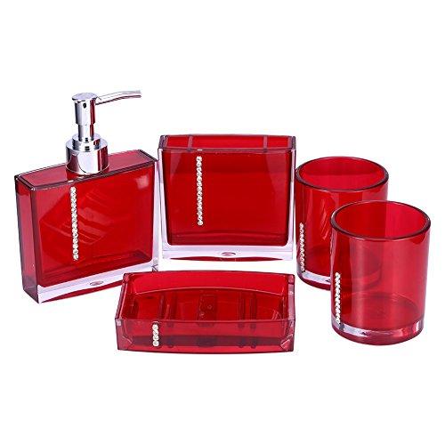 Yosoo 5-Stück Erstklassig Badezimmer Set (aus Hochwertige Acryl mit Diamanten) Bad Accessoire Set Lotion-Flaschen, Zahnbürstenhalter, Zahn-Becher, Seifenschale (Rot)