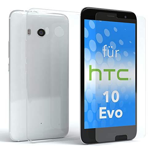 EAZY CASE Silikonhülle & Panzerglas im Set für HTC Evo 10 I Displayschutzglas, Panzerglas nur 0,3 mm 9H Härte, Schutzhülle Ultra dünn, Silikon Hülle, Backcover, Transparent/Kristallklar