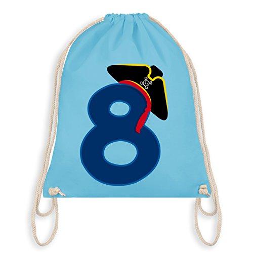 Geburtstag Kind - 8. Geburtstag Piratenhut - Unisize - Hellblau - WM110 - Angesagter Turnbeutel / Gym (Echte Piraten Outfits)