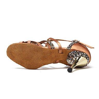 Scarpe da ballo-Non personalizzabile-Da donna-Balli latino-americani Scarpe da swing Stivaletti da danza-A stiletto-Scamosciato Paillette- Brown