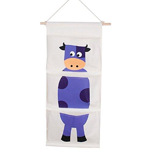 Sfghouse Cotton & linen cute Cartoon 3tasche porta parete Closet Hanging Organizer Storage Bag Home Decor Cows