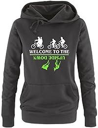 Comedy Shirts - Welcome to the upside down - Stranger Things - Damen Hoodie - Kapuze, Kängurutasche, Langarm, Print-Pulli