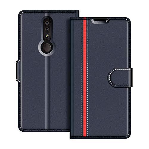 COODIO Handyhülle für Nokia 4.2 Handy Hülle, Nokia 4.2 Hülle Leder Handytasche für Nokia 4.2 Klapphülle Tasche, Dunkel Blau/Rot