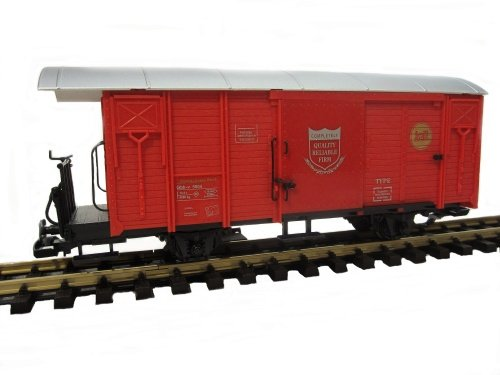 Train Gedeckter Güterwagen, RHB Gbk-v, rot,Spur G, Edelstahlräd