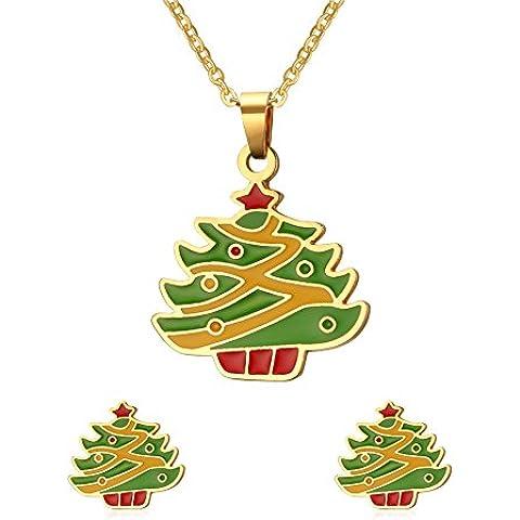 Vnox Acciaio inossidabile Buon regalo albero di Natale insiemi dei monili,collana & orecchini - Orecchini In Oro Perle Vermeil
