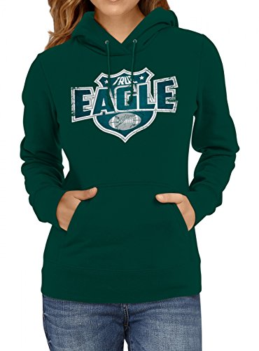 Shirt Happenz True Eagle #8 Premium Hoodie Superbowl American Football Play Offs Frauen Kapuzenpullover, Farbe:Dunkelgrün;Größe:S -