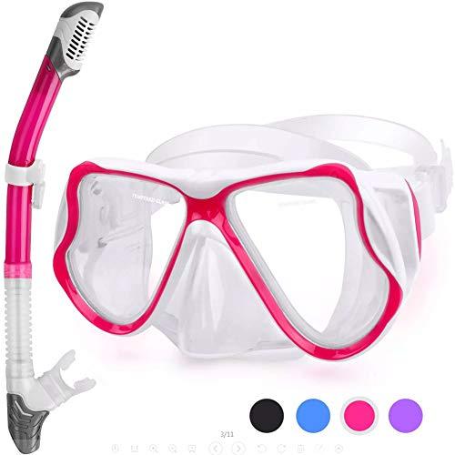 Schnorchel Set mit,Gehärtetes Glas und Full-Dry Top Schnorchel, Anti-Fog-Tauchmaske Panorama-Tauchermaske mit,Pink