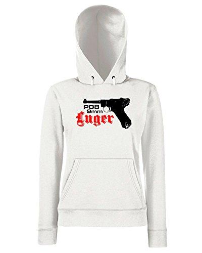T-Shirtshock - Sweats a capuche Femme T0826 luger militari Blanc