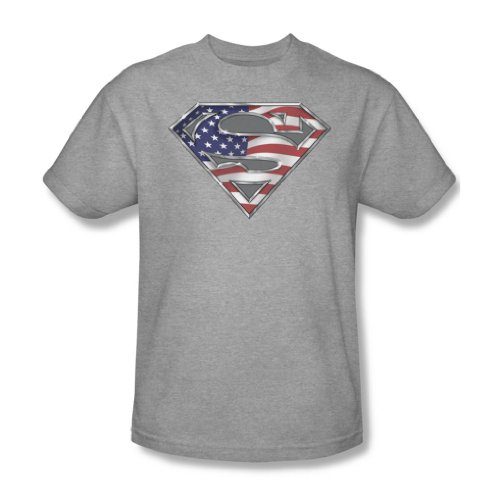 Superman - All American Shield für Erwachsene T-Shirt in Heather, XXX-Large, Heather (American Erwachsenen All T-shirt)