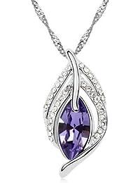 Colgante con cristal irisado de Swarovski, color violeta, 3 cm de altura (con anilla), diseño de cadena chapada en oro de 18 quilates, color blanco