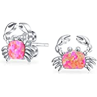 Bling Jewelry 925 argento sterlina rosa Opal Inlay marittimo Crab Orecchini