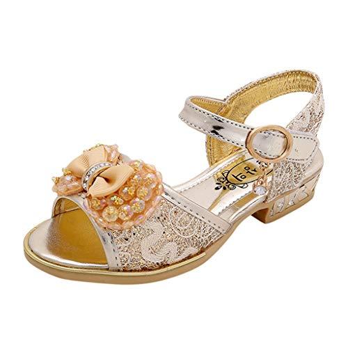 Schuhe MäDchen, Baby Mädchen Perlen Kristall Bling Bowknot einzelne Sandalen, Kinder Party Casual Schuhe Glitzersteine Temperament ()