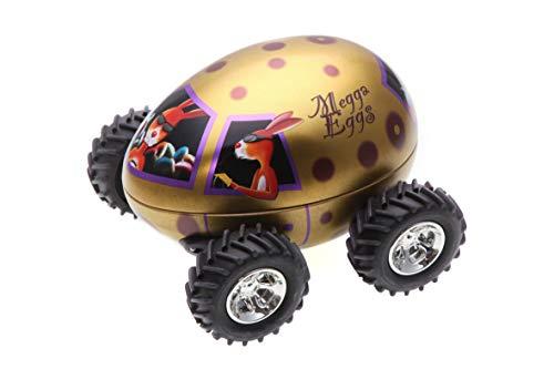 POWERHAUS24 Monster Egg Truck, Truck im Osterei Design, Ostertruck, Aufbewahrungsdose, Blechdose für Süßes, Keksdose, Vol. 500ml