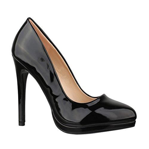Elara Spitze Pumps   Moderne High Heels   Bequeme Lack Stilettos   Chunkyrayan 118-6 N Black-40