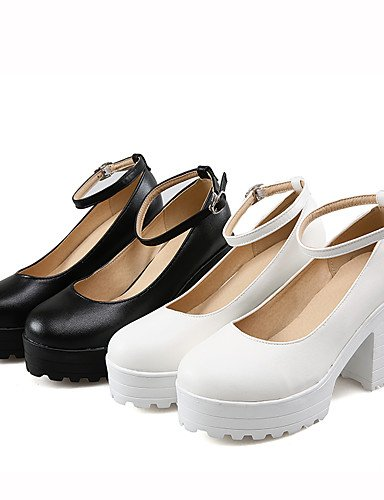 WSS 2016 Chaussures Femme-Habillé-Noir / Blanc-Gros Talon-Talons / Bout Arrondi-Talons-Similicuir white-us4-4.5 / eu34 / uk2-2.5 / cn33