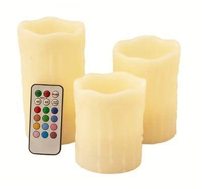 """Mooncandles - LED Flammenlose Batterie kerzen mit """"tropfendem Wachs"""", Farbwechsel und Vanilla-parfümiert, Große 10cm/12cm/14cm von Frostfire - Lampenhans.de"""