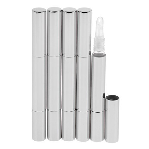 MagiDeal 5Pcs 3ml Lippenbalsam Rohr nachfüllbar Reise Kosmetik Fläschchenleer Lip Gloss Behälter Nagelöl Stift - Silber