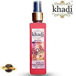 Khadi Global Royale Opulent Panchpushp Facial MIST Toner Extracted From Organic & Fresh Petals Of Rose, Marigold, Bela, Kewda and Saffron 100% Natural & Safe 100ml.