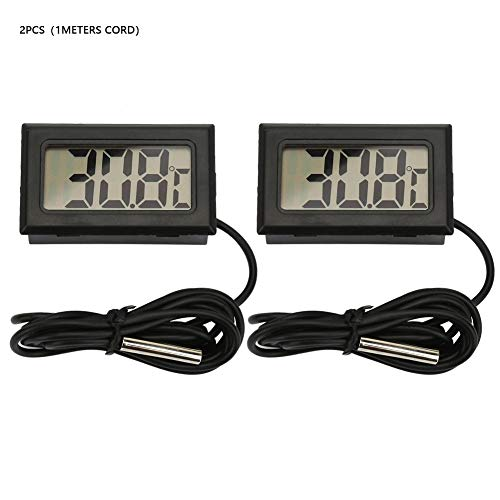 2Pcs Mini Digital LCD Indoor Praktische Temperatur Thermometer Manometer(1Meters Cord-Schwarz) -